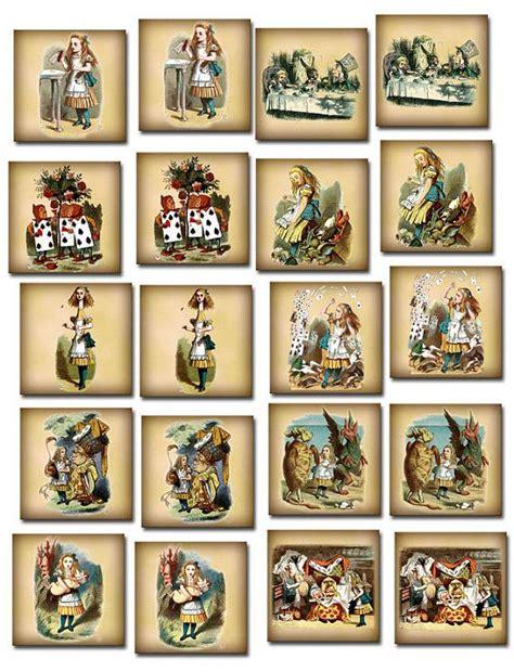 alice  wonderland vintage art  square tagscards