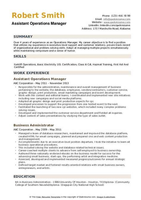 Sle Resume For Operations Manager by Operations Manager Resume Sles Qwikresume