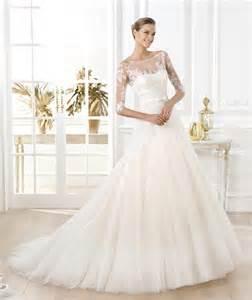 pronovias brautkleider a line illusion bateau neckline sleeve glitter tulle lace wedding dress