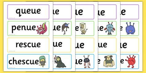 Phase 5 'ue' Flashcards Real And Nonsense Words  Phase 5