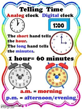 telling time hours  minutes poster english  immersion