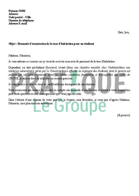 lettre prenom chambre lettre de demande d 39 exonération de la taxe d 39 habitation