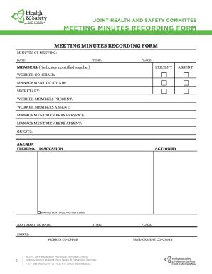 fillable  jhsc meeting minutes recording form wsps