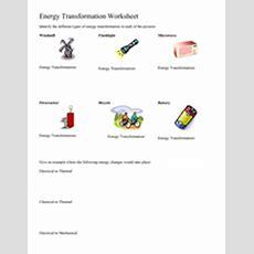 Energy Transformation Worksheet 5th  8th Grade Worksheet  Lesson Planet