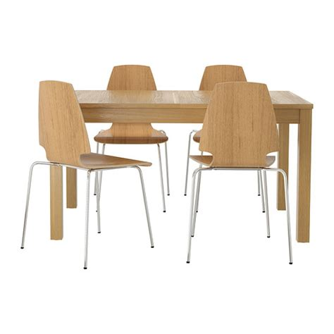 chrome table and chairs vilmar bjursta table and 4 chairs oak veneer chrome plated