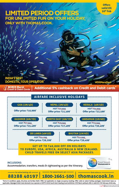 Thomascook In Limited Period Offers For Unlimited Fun Ad ...