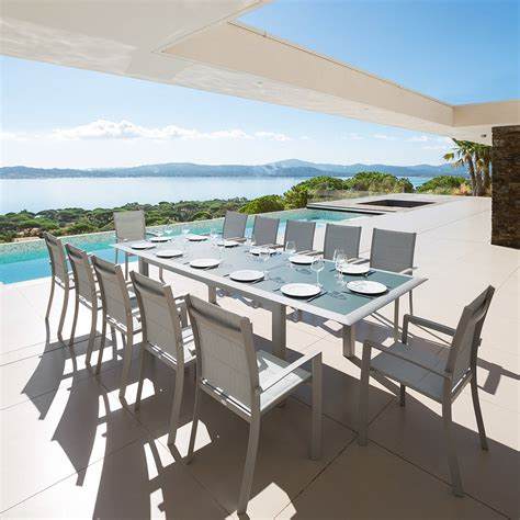 table de jardin extensible bleu orage silver hesp 233 ride 12 places