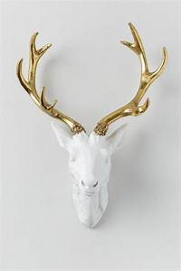 Gold antler resin deer head wall decor francesca39s for Antler wall decor