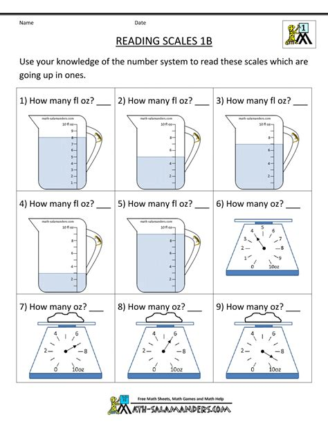 1st grade measurement worksheets reading scales 1b gif