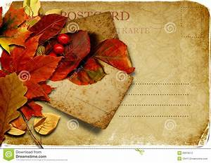 Vintage Postcard With Autumn Leaves Stock Illustration ...