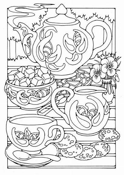 Tea Coloring Pages Party Printable Adult Colouring