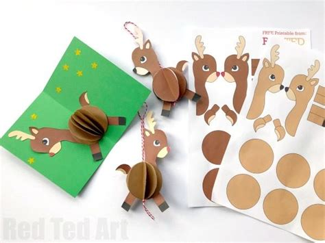 hand made christmas out of paper 3d reindeer card diy ted