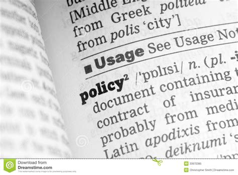 Policy Dictionary Definition Stock Image