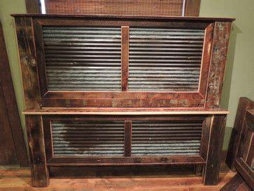 rustic headboard  wood  tin inlay  products