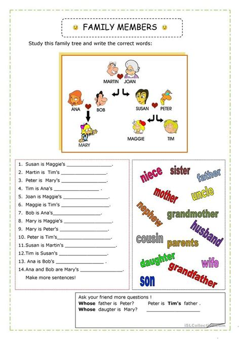 Family Worksheet  Free Esl Printable Worksheets Made By Teachers English