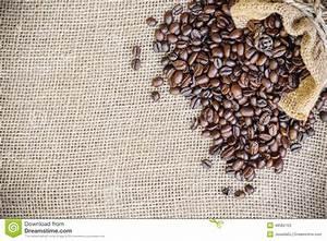 Coffee Bean In Sack Bag On Burlap Background Stock Image ...