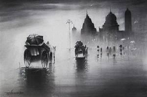 Rhythmic Monsoon I by artist Somnath Bothe charcoal