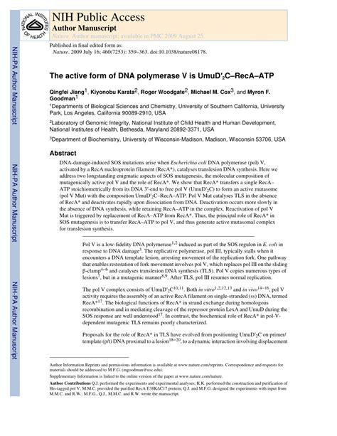 pdf the active form of dna polymerase v is umud 2 c