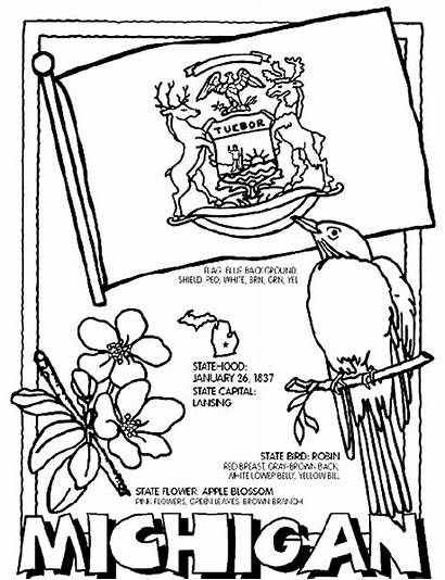 Coloring Pages Crayola Michigan State Flag States