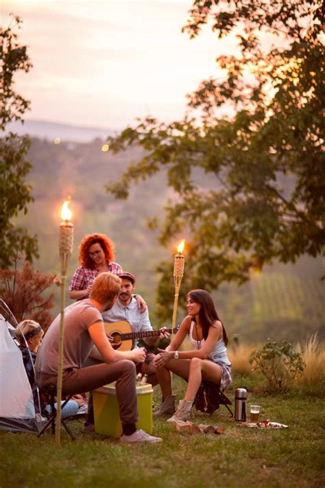 stock photo campsite friends gathering