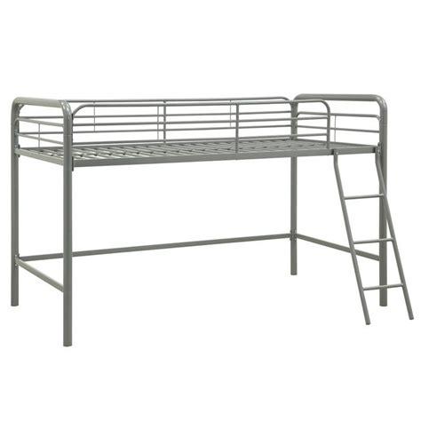 Metal Junior Metal Twin Loft Bed In Silver