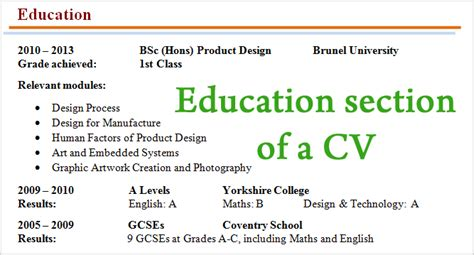 Write My Cv by How To Write Education Section Cv