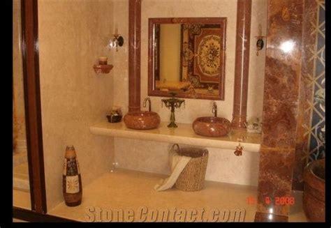 Classic Cream Marble Bathroom Vanity Top, Red Onyx Frame