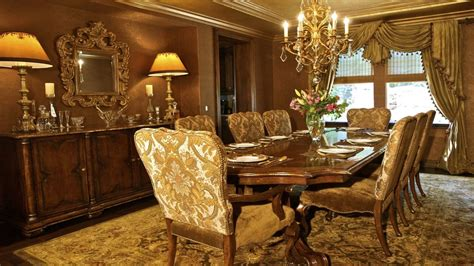 luxury dining room design with gold color theme