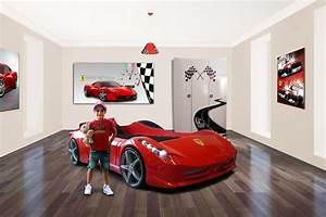 car bed ferrari car bedroom theme boys bedroom boys With stickers voiture pour chambre garcon