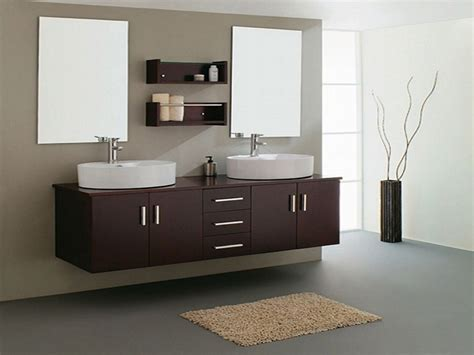 Double Contemporary Sink Bathroom Vanities Cabinets, Wall