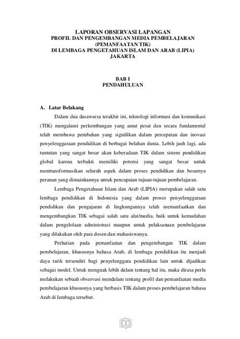 Contoh Laporan Hasil Observasi Dalam Bahasa Inggris