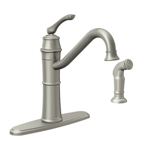 stainless kitchen faucets shop moen wetherly spot resist stainless 1 handle deck