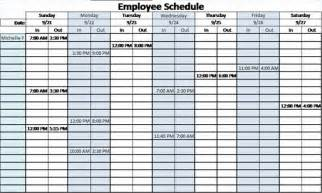Free Excel Work Schedules Template
