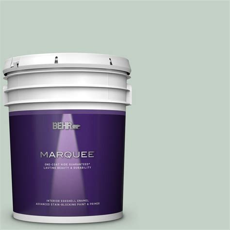 behr marquee 5 gal ppu11 13 frosted jade one coat hide eggshell enamel interior paint and