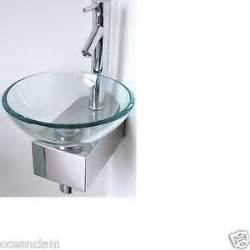 corner bathroom small sink basin glass bowl wall mounted stand tap cloak room ebay