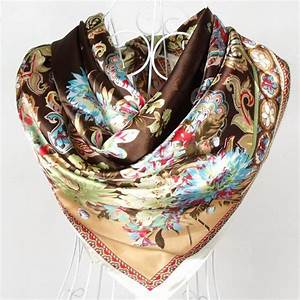 2015 New Style Female Satin Red Big Square Silk Scarf Printed Hot Sale Women Coffee Silk Scarf