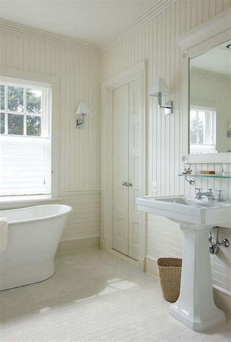 Cottage Bathroom With Vertical Beadboard Backsplash And