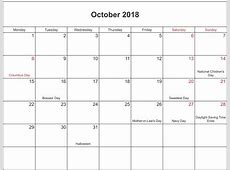 Calendar October 2018 With Holidays – Printable 2018