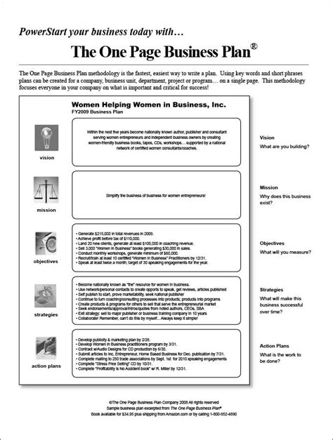 page business plan template   word