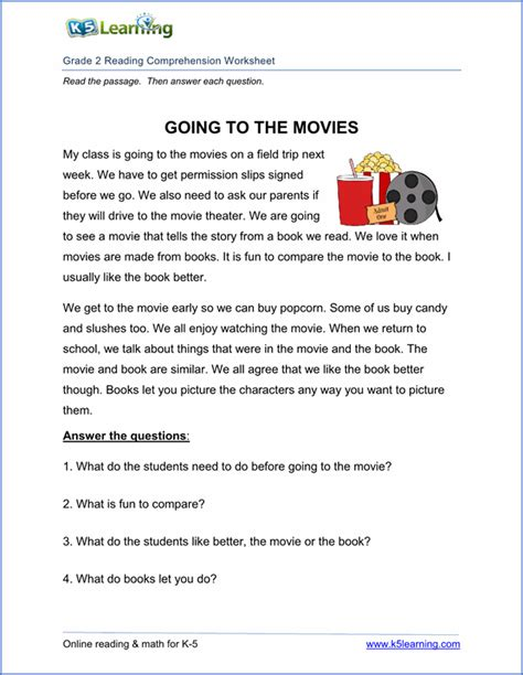 Printable Reading Comprehension Worksheets (inc Exercises) For Different Grades English