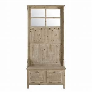 meuble d39entree 2 tiroirs en sapin blanchi avoriaz With meuble entree maison du monde