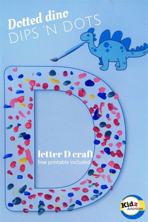 letter d craft dotted dino dips n dots kidz activities 369 | Dotted dino dips n dots