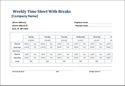employee timesheet templates  excel document hub