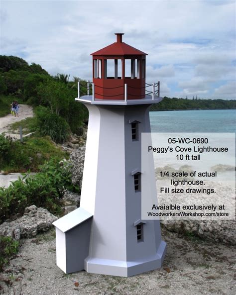 Each project is illustrated with detailed diagrams and provides all the materials required for the project. Peggys Cove Lighthouse Woodworking Plan 10ft tall - WoodworkersWorkshop