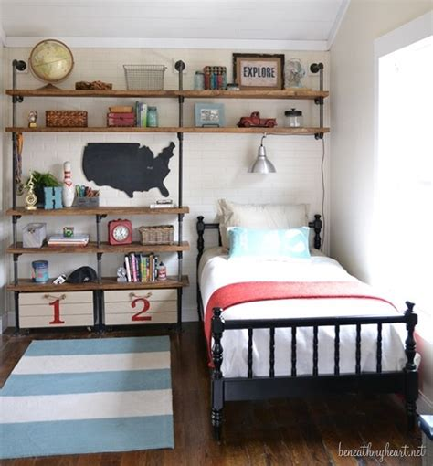 boy rooms industrial shelves for a boy s room beneath my heart
