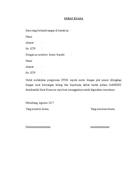 Contohsuratindonesia.com kali ini memberikan contoh surat. Contoh Surat Kuasa Bayar Pajak Kendaraan Bermotor - Bagi Contoh Surat