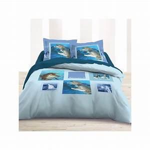 BUBBLE Housse de couette 200x200 Motif dauphin Parure de lit imprimée pas cher Chambre