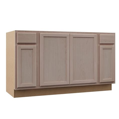 hampton bay hampton assembled xx  sink base kitchen cabinet  unfinished beech