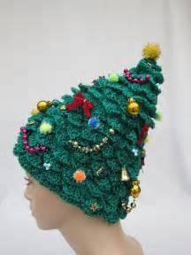 christmas tree hat crochet hat creative hat green hat unusual hat womens hat festive hat