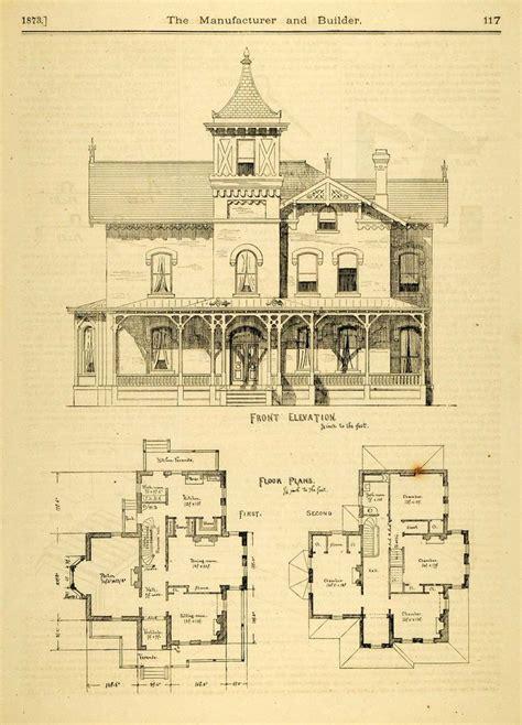 house plans historic 1873 print house home architectural design floor plans